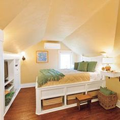 Build the bed frame for the attic like this...extra storage