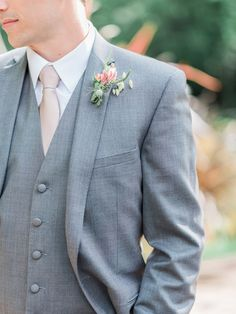 Springtime groom attire, light grey suit, pastel pink tie, pink bout // White Ivory Photography