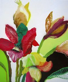 Thierry Feuz - Collage Acrylic - Stylized Paint Floral Flowers