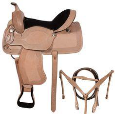 Tooled Leather Western Pleasure Horse Saddle Tack 15 18