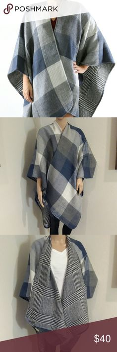 """Checkered pattern blue/Grey Ruana poncho scarf Checkered pattern blue/Grey Ruana poncho scarf.  Trimmed edged, woven. 100% acrylic.  31"""" long,  one size fits all.  BRAND NEW Accessories Scarves & Wraps"""