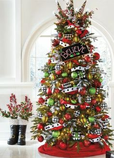 enchanting colors of bright red lime green black and white bring your christmas tree