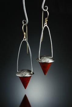 Sonoran Sunrise Earrings. Fabricated Sterling Silver and 14k