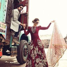 Team & find the great escape on a desi truck! Promotional shoot for the film by photographer: hair & makeup: Wardrobe: styling and concept: Jewellry: has hit cinemas across today 💫 Pakistani Wedding Dresses, Pakistani Bridal, Pakistani Outfits, Indian Dresses, Indian Outfits, Bridal Dresses, Pakistani Couture, Indian Bridal Wear, Indian Wear