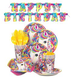 Amazon Lisa Frank Rainbow Majesty Unicorn Birthday Party Supplies Pack