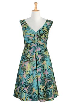 "Tropical Bird Print Cotton Dresses, Fall Graphic Print Dresses ""Shop women's fashion dresses | Womens designer dresses | Women's Long Dresses | | eShakti"