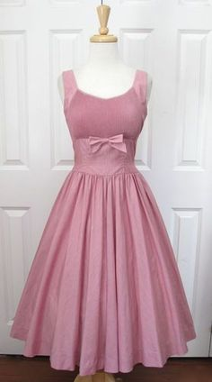 #Vintage 50's Pink Bow Cotton Full Skirt Party Dress Sz XS