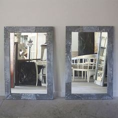 """Pair of Naturally Patinated Zinc Frame Wrapped Mirrors. This is an RT Facts original design and can be built to suit custom measurements. These mirrors can be made with clear or lightly distressed glass.  Mirrors Shown; 48""""H x 32.25""""W"""