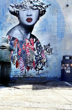 by Hush - Project 'Today's Geisha' In Newcastle, UK. *Japanese artist Hush mixes techniques of collage, graffiti, stencil, painting and drawing to create his geisha inspired works.