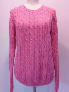 Lily Pulitzer Hot Pink 100% Cotton Cable Knit Sweater Women's Size Medium  EUC #LillyPulitzer #Crewneck