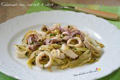 Calamari con carciofi e olive