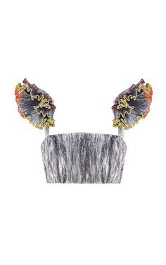 Shop Rosie Assoulin Pom Pom Bralette Top In Silver from stores. This *Rosie Assoulin* Pom Pom Bralette Top features a cropped hem pleating throughout and ruffled detail on the shoulders. Couture Fashion, Diy Fashion, Ideias Fashion, Fashion Outfits, Womens Fashion, Fashion Design, Unique Fashion, Bralette Tops, Couture Tops