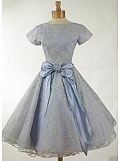 Blue Flocked Organza with Satin Bow