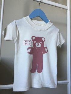 Cute screen printed 'Bear Hugs' design on baby T shirts, organic cotton… Handmade Baby Gifts, New Baby Gifts, Congratulations Gift, Bear Hugs, Organic Baby Clothes, Newborn Baby Gifts, Baby Prints, Baby Shower Gifts, Screen Printing