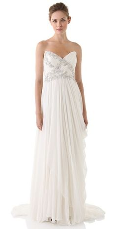 Marchesa Strapless Draped Dress with Embroidered Bodice | SHOPBOP