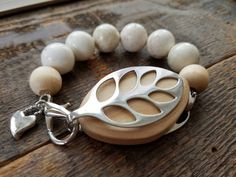 Bellabeat Leaf Accessory White natural stone with sandalwood beads and chunky .925 sterling silver artisan heart by dooglelinhk on Etsy