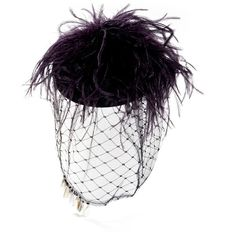 0637b459822 Piers Atkinson Pearl veil ostrich pouf cocktail hat ( 875) ❤ liked on  Polyvore featuring