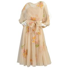 Mignon 1970's Hand Painted Floral Chiffon Dress with Open Sleeves | From a collection of rare vintage day dresses at https://www.1stdibs.com/fashion/clothing/day-dresses/