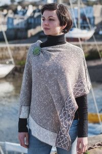 Natural Linen and Silk make this a stunning lightweight poncho that can be worn during the day or in the evening. Celtic knotwork has been woven into the border. Wear it as shown or dress up with a st