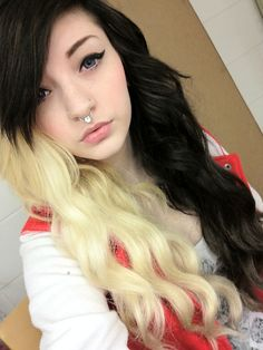 Half black and blond hair