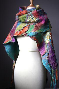 Nuno felted shawl wrap fashion designer wool silk woman by VitalTemptation Nuno Felting, Needle Felting, Nuno Felt Scarf, Felted Scarf, Hippy Chic, Vintage Winter, Wool Felt, Felted Wool, Red And Blue