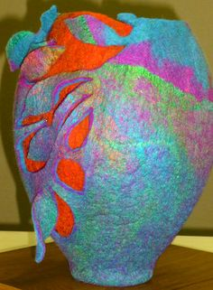 Leaves Vessel by Janet King. Sculptural felt made of wool and silk all massaged together and shaped by hand. SOLD