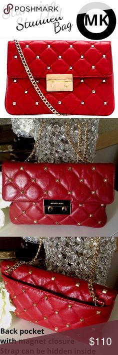 """MICHAEL KORS fab studded Sloan bag! Perfect accessory for any season! This bag gets attention everywhere it goes! Scrumptious  red quilted leather w/ amazing studs throughout. Rich gold shoulder strap that can be tucked away in the back pocket to form a clutch bag. Gold MK logo front latch has a few teeny tiny hairline scratches but hard to see. Inside has MK lining, 1 open pocket, 1 zip pocket & slots 6 cards. Great condition. I may elect to send this """"signature required"""" (I will pay for…"""