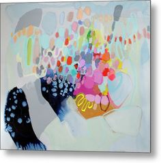 Abstract Metal Print featuring the painting Bring It On by Claire Desjardins