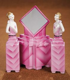 German Art Deco Porcelain Perfume Bottles and Powder Jar with Mirror 600/800