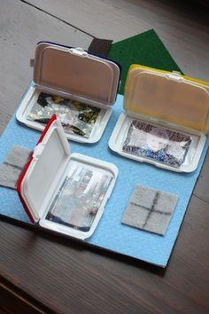 Upcycle wet wipe boxes: Sensory activities - peek-a-boo