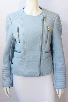 Zara Pale Blue Faux Leather Moto Jacket