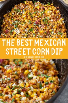 The best Mexican street corn dip! Super light and refreshing for the summer with… The best Mexican street corn dip! Super light and refreshing for the summer with all your beloved street corn flavors. Perfect for your next summer cookout! Vegetarian Recipes, Cooking Recipes, Healthy Recipes, Sausage Recipes, Cooking Tips, Healthy Food, Vegetarian Side Dishes, Venison Recipes, Vegetarian Appetizers
