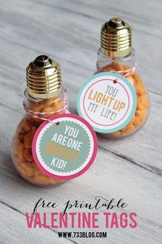 Lightbulb Valentine Idea with Free Printable Tags