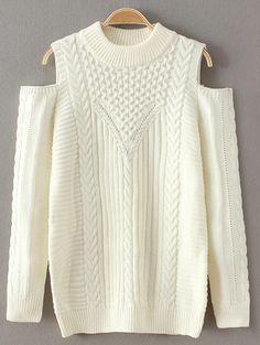 Cold Shoulder Round Neck Knitted Sweater