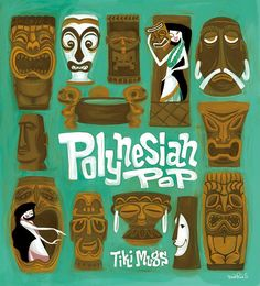 Polynesian pop, Tiki Mug Poster,Hawaiian, Mid Century Modern Art Print Poster Vintage Retro Tiki Hawaii, Hawaiian Tiki, Vintage Hawaiian, Arte Tribal, Tribal Art, Vintage Tiki, Retro Vintage, Tiki Totem, Tiki Tiki