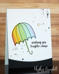 Darling water colored and die cut card by @parkermolly for Ellen Hutson LLC using Avery Elle products. #ellenhutsonllc #ellenhutsonllcblog