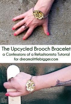 Upcycled brooch bracelet tutorial