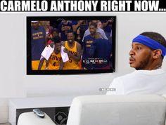 Carmelo Anthony watching JR Smith & Iman Shumpert like... #Knicks #Cavs - http://nbafunnymeme.com/nba-memes/carmelo-anthony-watching-jr-smith-iman-shumpert-like-knicks-cavs