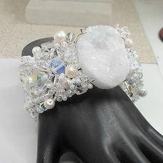 Handmade-cuff-bracelet-wirework-white-amethyst-faux-pearls-crystals-size-7-1-2