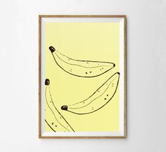 Banana Print - Bananas - Home Decor - Printable Art - Fruit Print A simple, inspiring wall decor for your home or office.  Supplied as a digital file for your convenience. Simply print from your home or office printer, or take to your local print shop.and then frame the printed poster in a black, white, or wooden frame.. You will have your print ready to be hung. Quick and easy!  FEATURES • Instant file download from your Etsy account • High quality PDF files provided • The high resolution…