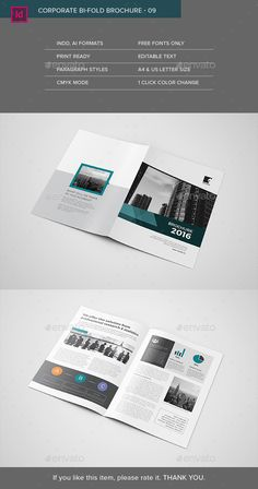 Corporate Bifold Brochure Template InDesign INDD. Download here: http://graphicriver.net/item/corporate-bifold-brochure-09/16061219?ref=ksioks