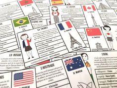 Voici des petites cartes à imprimer de différents pays afin de faire découvrir à vos enfants d'autres cultures.