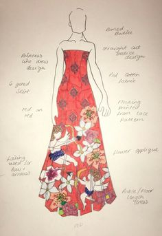 Final dress for FMP and Liberty competition Bow Arrows, Red Pattern, Catwalk, Designer Dresses, Liberty, Bodice, Competition, Bows, Romantic