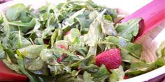 Strawberry Arugula Salad - basic balsamic dressing tossed with strawberries and arugula. I usually toss in something crunchy, like nuts, and some hemp hearts. Salad Dressing Balsamic Vinegar, Chef Michael Smith, Arugula Salad Recipes, Carmelized Onions, Vinegar And Honey, Food Network Canada, Home Chef, Vegetarian Paleo, Strawberry Recipes