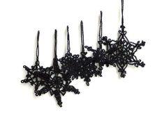 Schwarz-Christbaumschmuck - gotischen Urlaub Ornaments - Gehäkelte Schneeflocken-Dekorationen - Goth Weihnachtsschmuck - set 6