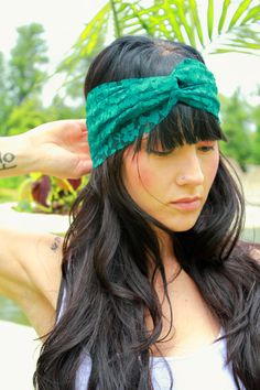 Emerald Blue/Green Lace Turban Headband with Velcro by JustLiv,