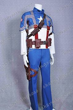 Captain America Movie Cosplay Costume Steve Rogers Jacket Pants Suit (Male S)  Click image twice for more info - See a larger selection of mens halloween costume at http://costumeriver.com/product-category/mens-halloween-costumes/ -  holiday costume , event costume , halloween costume, cosplay costume, classic costume, scary costume, super heroes costume, classic costume, clothing