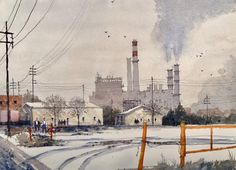 """Michael Broshar on Instagram: """"""""Cherokee Generating Station - Denver CO"""", was selected as part of the FAV15% (jury's favorite 15% of the entries) in the February 2019…"""" Cherokee, Denver, The Selection, Watercolors, February, Industrial, Outdoor, Instagram, Outdoors"""