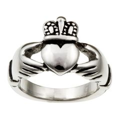 Ring features a detailed claddagh design with openwork styling Jewelry is crafted of polished stainless steel with an antiqued finish Claddagh ring is a wonderful way to express your friendship Ring f