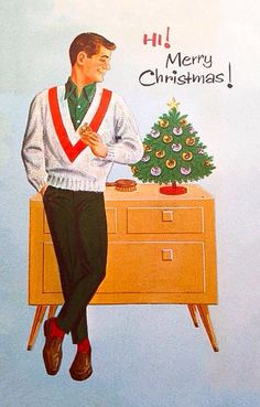1950s mens casual christmas card